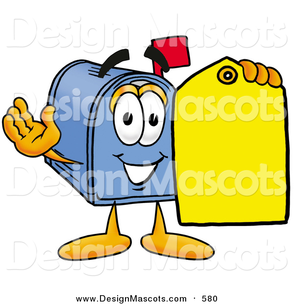 Illustration of a Mailbox Mascot Holding a Yellow Sales Price Tag