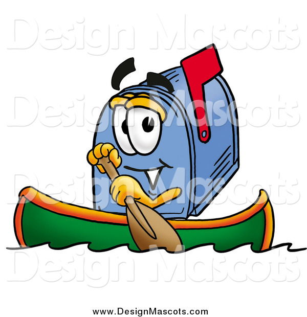 Illustration of a Mailbox Mascot Rowing a Boat
