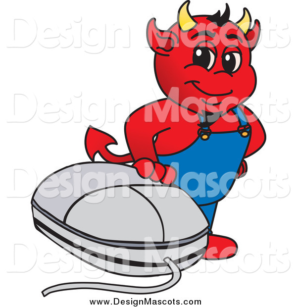 Illustration of a Mascot Devil with a Computer Mouse