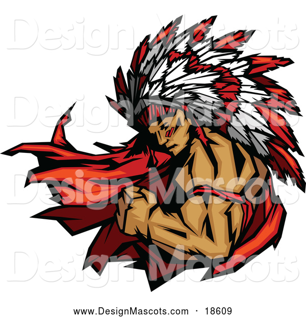 Illustration of a Masculine Strong Chief Native American Indian Mascot Flexing His Bicep