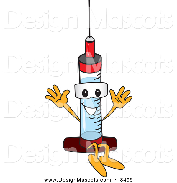 Illustration of a Medical Syringe Mascot Jumping