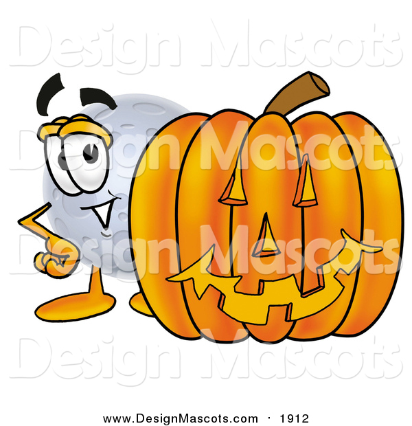 Illustration of a Moon Mascot with a Halloween Pumpkin