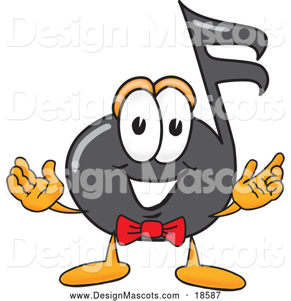 Illustration of a Music Note Mascot Cartoon with Welcoming Open Arms