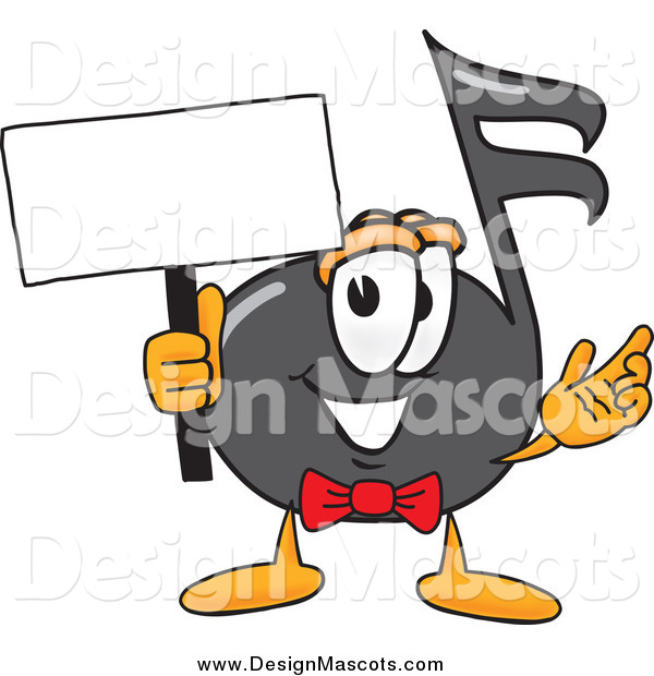Illustration of a Music Note Mascot Holding a Blank Sign