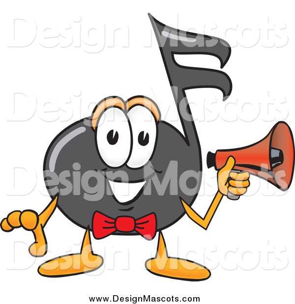 Illustration of a Music Note Mascot Holding a Megaphone