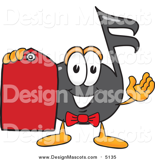 Illustration of a Music Note Mascot Holding a Red Sales Price Tag
