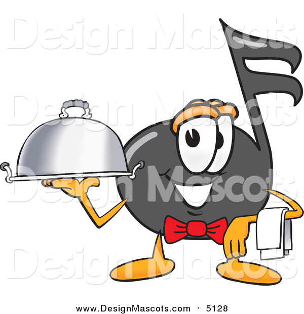 Illustration of a Music Note Mascot Waiter Holding a Serving Platter