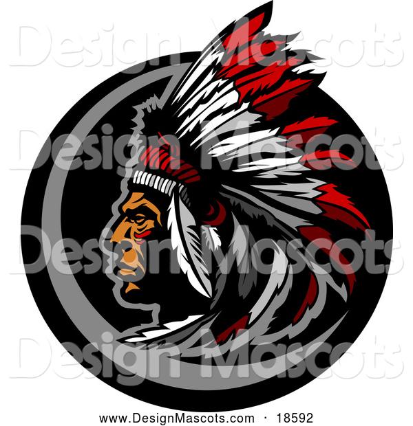 Illustration of a Native American Chief Mascot with a Feather Headdress