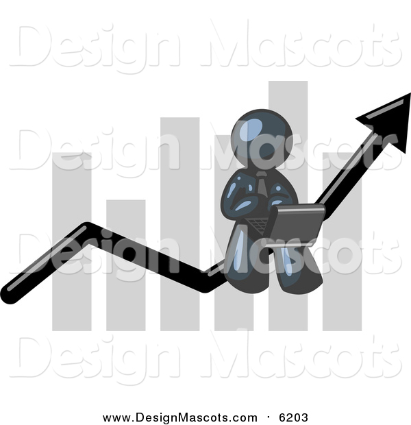 Illustration of a Navy Blue Businessman Using a Latpop on a Bar Graph