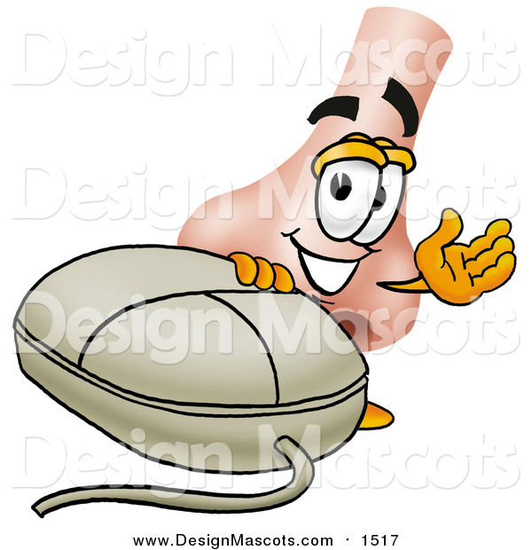 Illustration of a Nose Mascot Waving by a Computer Mouse