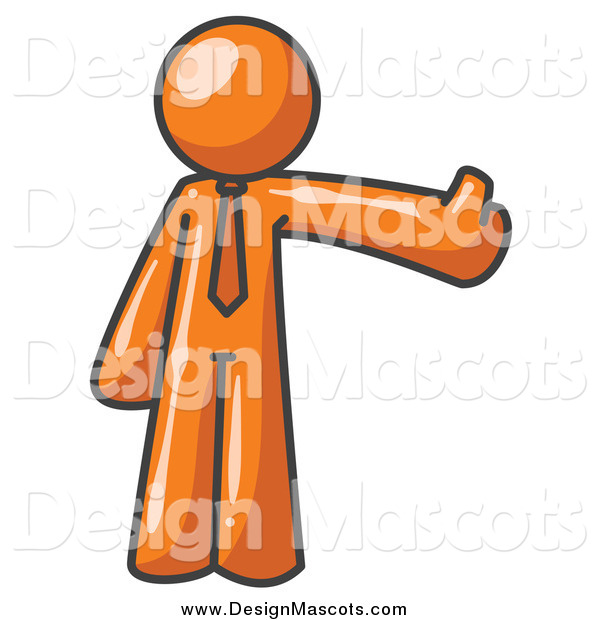 Illustration of a Orange Business Man Holding a Thumb up