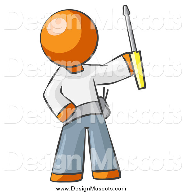 Illustration of a Orange Man Electrician Holding up a Screwdriver