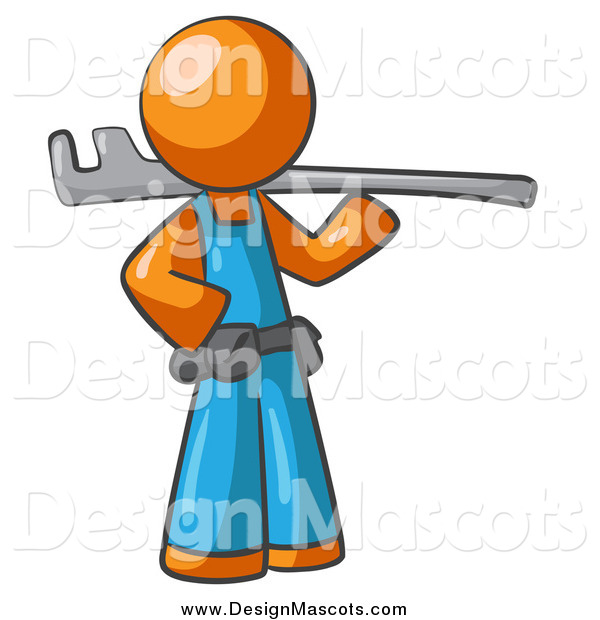 Illustration of a Orange Man Plumber Carrying a Tool