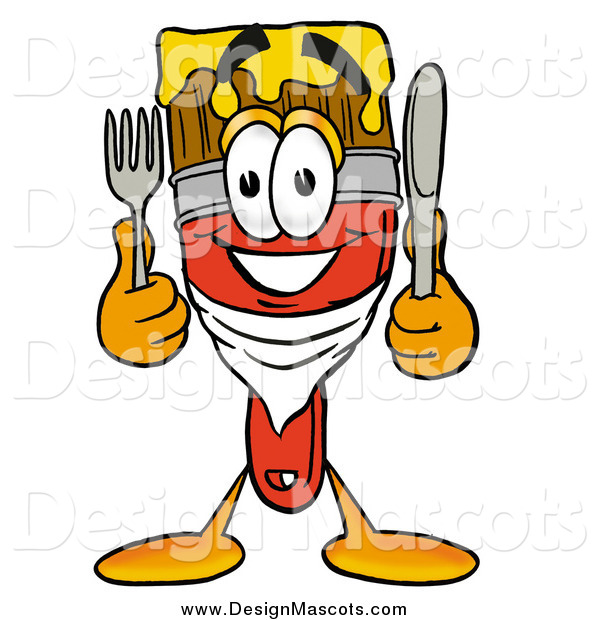 Illustration of a Paint Brush Mascot Holding Cutlery
