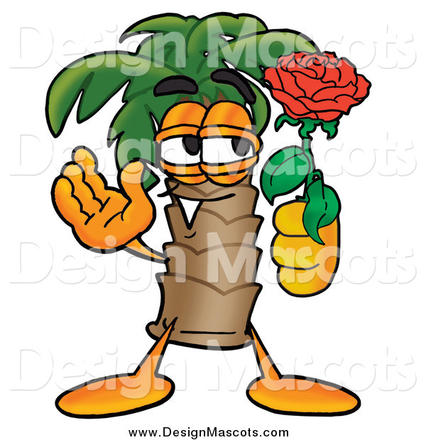Illustration of a Palm Tree Mascot Holding a Red Rose on Valentines Day