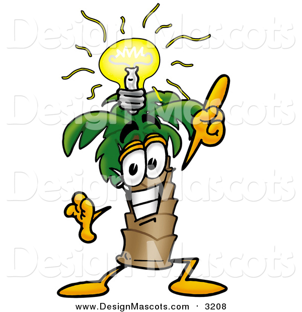 Illustration of a Palm Tree Mascot with a Bright Idea