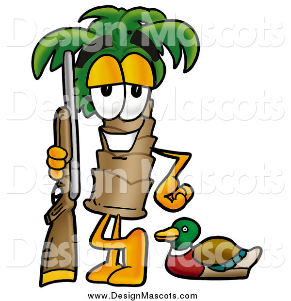 Illustration of a Palm Tree Mascot with Duck Hunting Gear