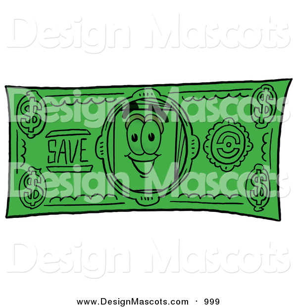 Illustration of a Paper Mascot on a Dollar Bill