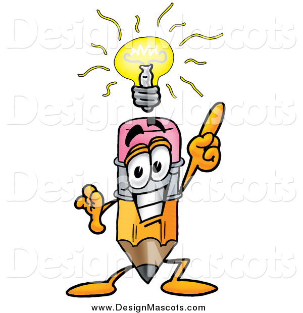 Illustration of a Pencil Mascot Holding up a Finger Under an Idea Light Bulb