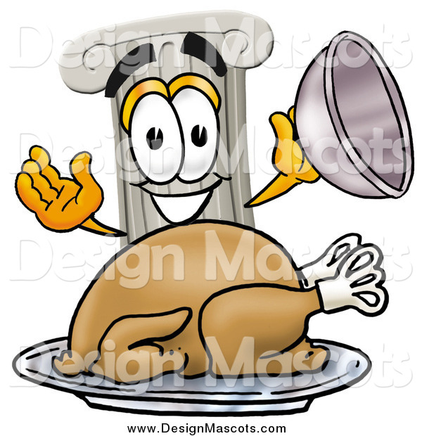 Illustration of a Pillar Mascot Serving a Thanksgiving Turkey
