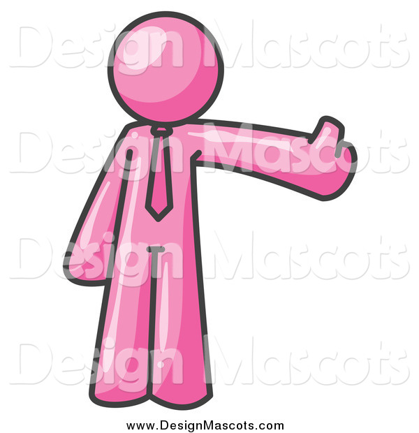 Illustration of a Pink Business Man Holding a Thumb up