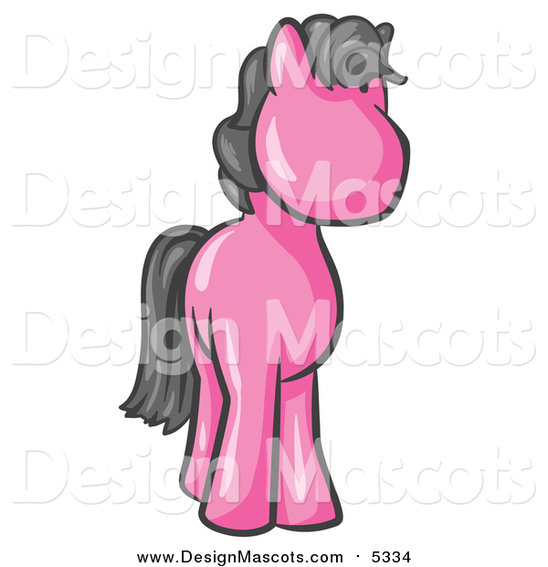Illustration of a Pink Horse Looking out at the Viewer