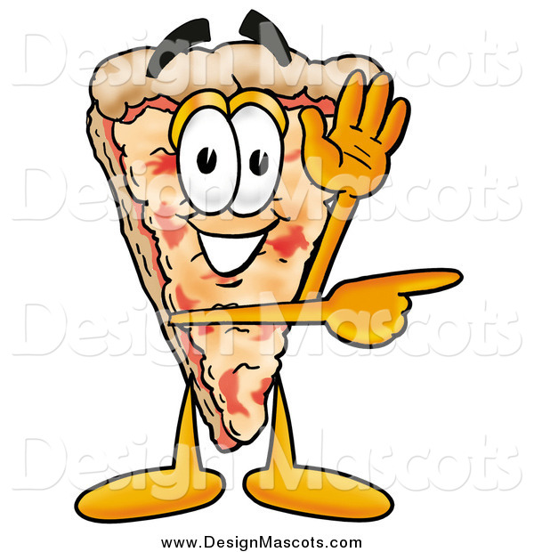 Illustration of a Pizza Mascot Cartoon Character Waving and Pointing