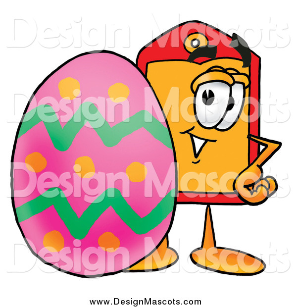 Illustration of a Price Tag Mascot and Easter Egg