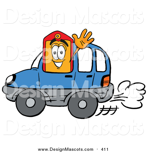 Illustration of a Price Tag Mascot Driving a Blue Car and Waving