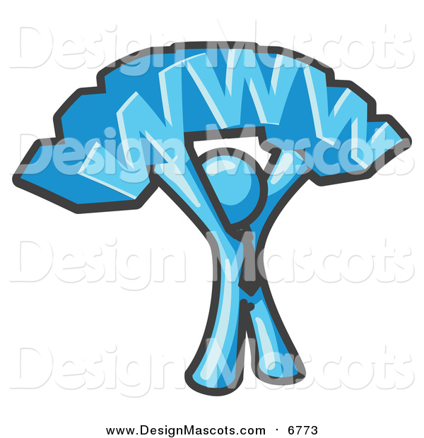Illustration of a Proud Light Blue Business Man Mascot Holding WWW over His Head