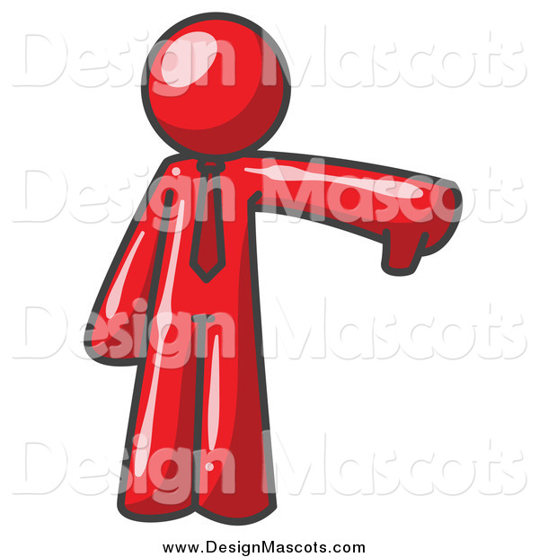 Illustration of a Red Business Man Holding a Thumb down