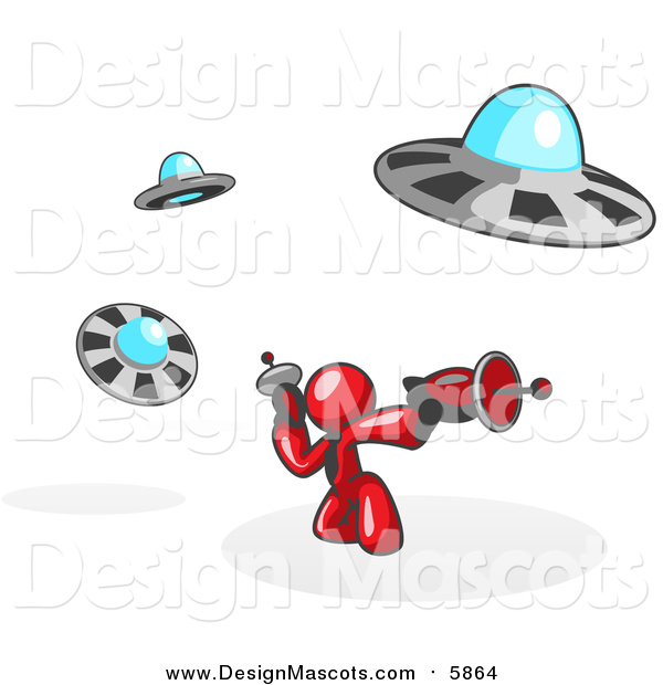 Illustration of a Red Man Fighting off UFO's