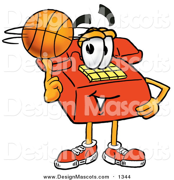 Illustration of a Red Telephone Mascot Spinning a Basketball on His Finger
