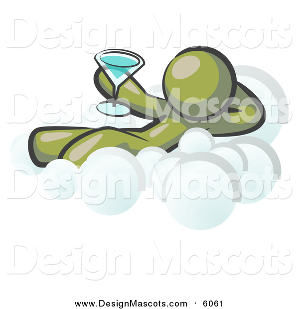 Illustration of a Relaxed Olive Green Man Drinking a Martini on Cloud Nine