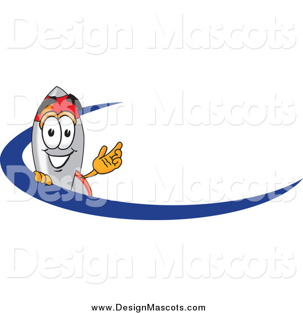 Illustration of a Rocket Mascot Waving over a Blue Dash