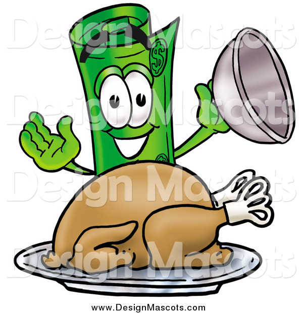 Illustration of a Rolled Money Mascot Serving a Thanksgiving Turkey on a Platter