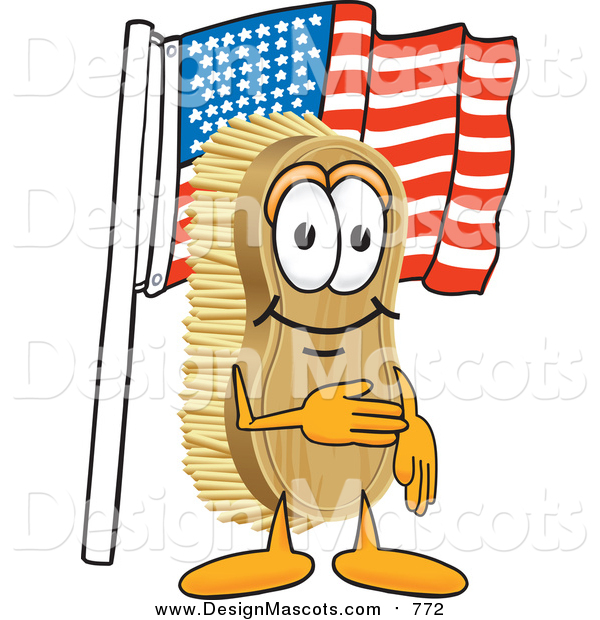 Illustration of a Scrub Brush Mascot Pledging Allegiance to the American Flag
