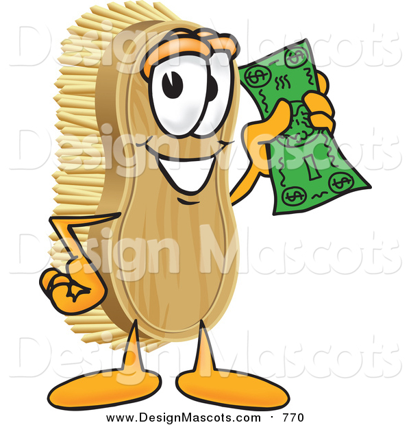 Illustration of a Scrub Brush Mascot Waving Cash in the Air