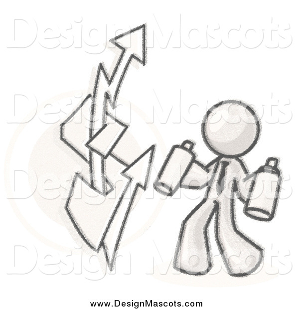Illustration of a Sketched Business Man Spray Painting a Graffiti Dollar Sign on a Wall