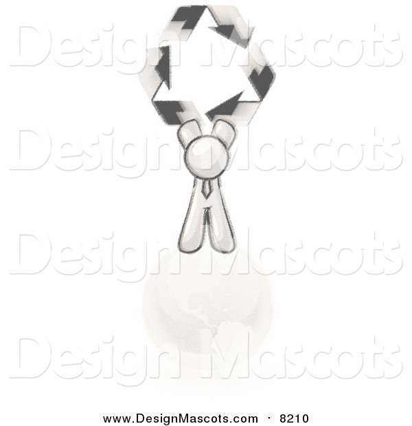 Illustration of a Sketched Design Mascot Man on Top of the Earth and Holding up Recycle Arrows