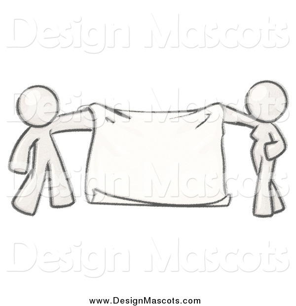 Illustration of a Sketched Mascot Man and Woman Holding a Blank Banner