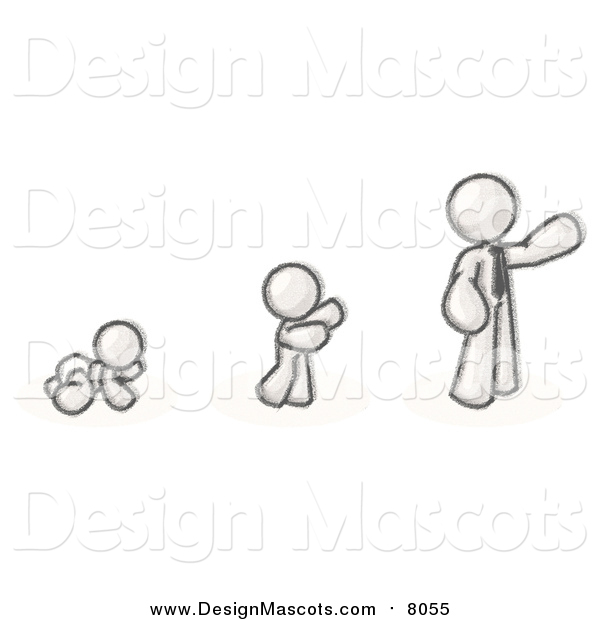 Illustration of a Sketched Mascot Man in His Growth Stages of Life, Starting out As a Crawling Baby in a Diaper, Then a Child and Then an Adult