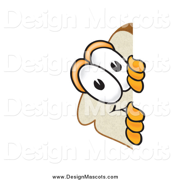 Illustration of a Slice of Bread Mascot Spying Around a Corner