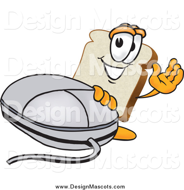 Illustration of a Slice of Bread Mascot Waving and Standing by a Computer Mouse