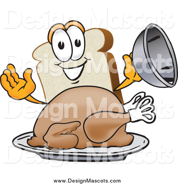 Illustration of a Slice of White Bread Mascot Serving a Cooked Turkey on a Platter