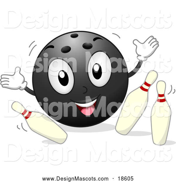 Illustration of a Smiling Bowling Ball Mascot Knocking over Pins