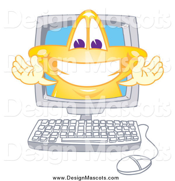 Illustration of a Smiling Cartoon Gold Star Mascot on a Computer Screen
