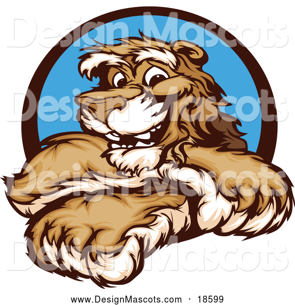Illustration of a Smiling Cougar Mascot with Crossed Arms