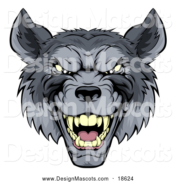 Illustration of a Snarling Gray Wolf Mascot