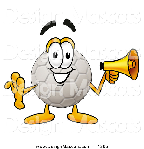 Illustration of a Soccer Ball Mascot Holding a Megaphone